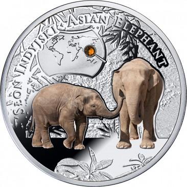 Słoń indyjski, 1 dolar, Seria: SOS dla świata - Zagrożone gatunki zwierząt